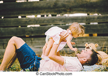 césped, parque, familia, feliz