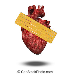 Heart Attack or Wounded Heart - Heart with bandaid