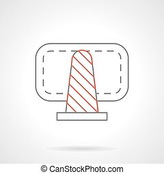 Cone warning sign flat line vector icon - Cone fencing with...