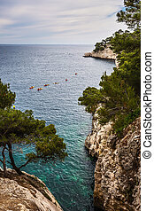 Provence, spring - The narrow bays - fjords with rocky steep...