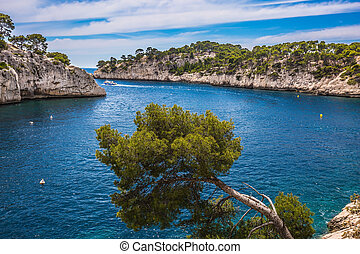 The Calanque with rocky steep banks - The picturesque gulf -...