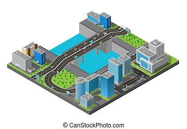 Isometric City Bridge Composition Poster - City business...