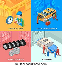 Car Service Isometric 2x2 Design Concept - Car service...
