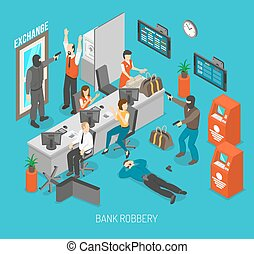 Bank Robbery Illustration - Bank Robbery Concept Bank...