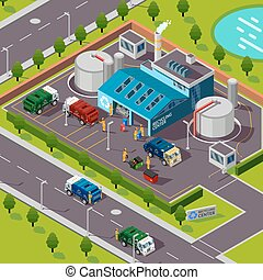 Recycling Plant Isometric Concept - Recycling plant...