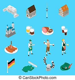 German Culture Traditions Isometric Icons Collection -...