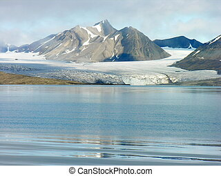 Artic Glacier - Artic glacier by the sea in Svalbard ,...