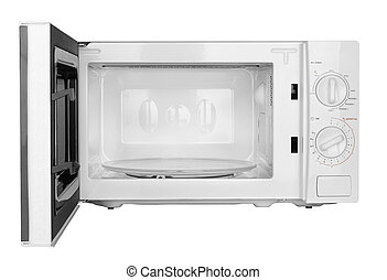 microwave oven - open microwave oven isolated on a white...