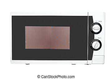 microwave oven - Working microwave oven isolated on a white...
