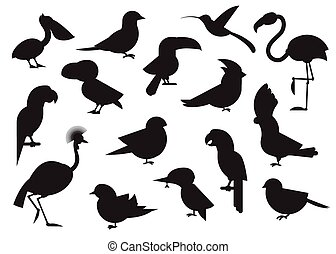 World Birds Outline Icons - Outline design vector birds icon...