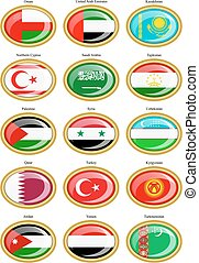 Flags of the Western and Central As - Set of icons. Flags of...