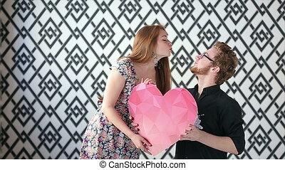 Romantic couple posing for a photo