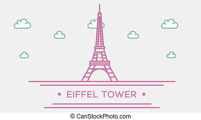 Eiffel tower in Paris. Part of the set. Animated outlined...