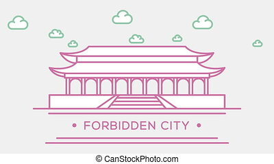 Chinese Forbidden city. Part of the set. Animated outlined...