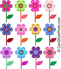 Set of flowers in different shapes,