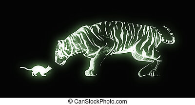 Challenge Concept with Cat and Tiger Art