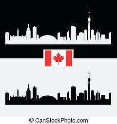 Canada silhouette with Canadian famous city buildings