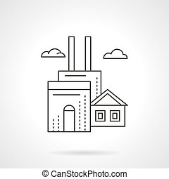 Manufacturing factory flat line vector icon - Industrial...