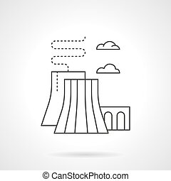 Thermal power station flat line vector icon