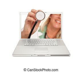 Female Doctor Holding Stethoscope Through Laptop Screen...