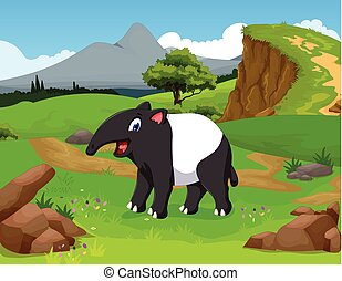 funny tapir cartoon in the jungle - vector illustration of...