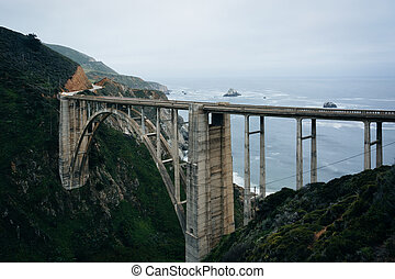 View of Bixby Creek Bridge, in Big Sur, California