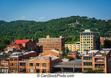 View of buildings and hills in Asheville, North Carolina.