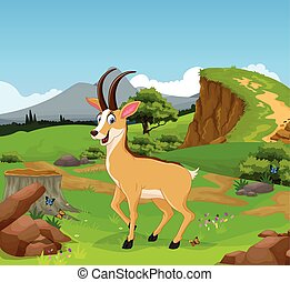 funny chamois cartoon in the jungle - vector illustration of...