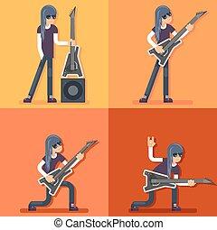 Electric Guitar Icon Guitarist Hard Rock Heavy Folk Music Background Concept set Design Vector Illustration