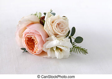 Boutonniere with roses - Image of a creatively designed...