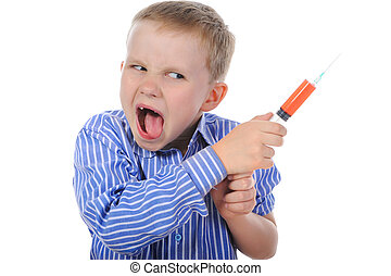 Boy with a syringe in his hand