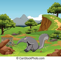anteater cartoon in the jungle - vector illustration of...