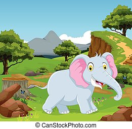 funny elephant  in the jungle