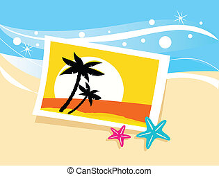 Vacation photo with tropical palms - Photo with tropical...