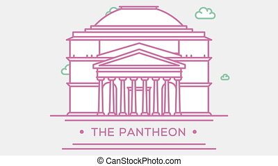 Pantheon in Rome, Italy. Part of the set. Animated outlined landmark 4K footage