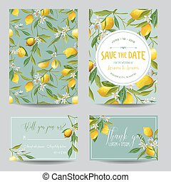 Save the Date Card. Lemon, Leaves and Flowers. Wedding Card....