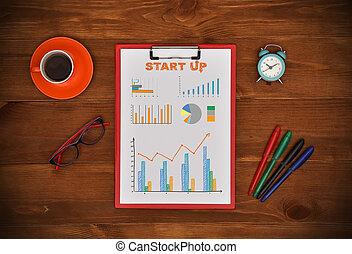start up scheme - clipboard with drawing start up scheme,...