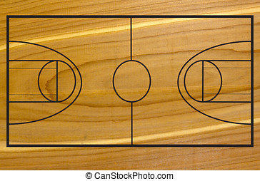 Basketball court on wood