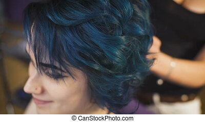 Expressive image for a young girl hipster Blue hair and...