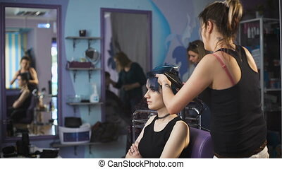 Expressive image for a young girl hipster. Blue hair and...
