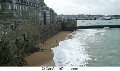 SAINT MALO, FRANCE - March 25, 2016: view of City wall and...