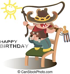 Young cowboy with western hat .Vector happy kid illustration for party birthday