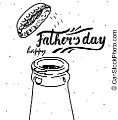 happy fathers day - greeting card template with hand drawn...