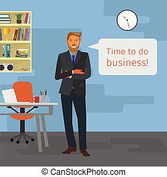 business man standing - business illustration with office...