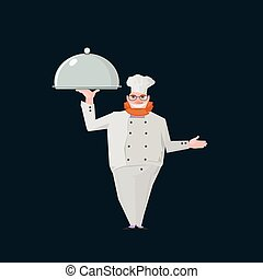 nice chef standing - business illustration with redhair chef...