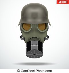 Military german helmet with gas mask. Army symbol WWII....