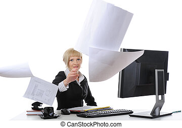 Beware of businesswoman throwing papers Isolated on white...