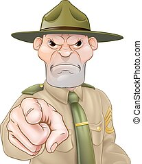 Drill Sergeant Pointing - Angry cartoon army boot camp drill...