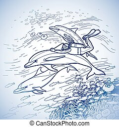 Graphic scuba diver riding the dolphin over the coral reef....