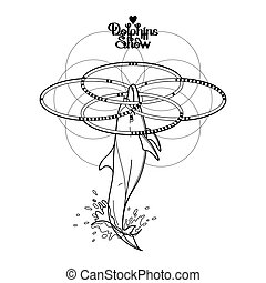 Graphic dolphin with four hoops - Graphic dolphin whirling...